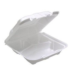 white foam to go food container