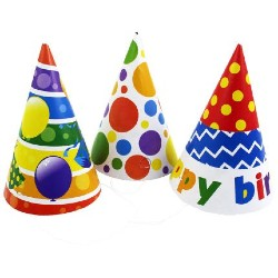 three colorful birthday party cone hats