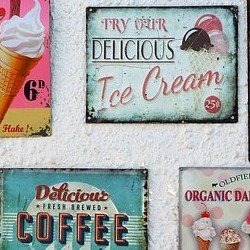 old ice cream and coffee shop signs